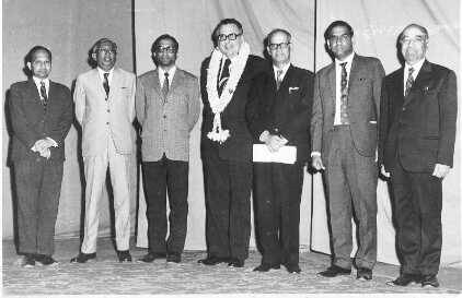 IEEE President's visit (1974): From L to R Dr BI Gururaj, Prof. Paramashivaiah, Dr RP Shenoy, Mr Guarrera, IEEE President,Mr Ravi Kirloskar Chairman Bangalore Subsection, Mr PN Hiriyannaiah, Dr HV Gopalakrishna