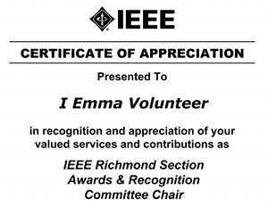 Ieee richmond social and awards recognition 17 january 2013 example of a certificate given to ieee richmond section volunteers in appreciation recognition of their yelopaper Image collections