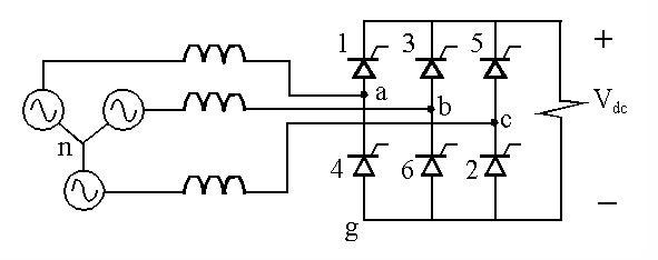 six pulse bridge rectifier, wiring diagram